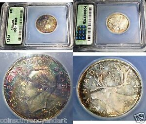 Click now to see the BUY IT NOW Price! TONED CANADA 1948 TWENTY FIVE CENTS WILD COLOURS .ICG MS65
