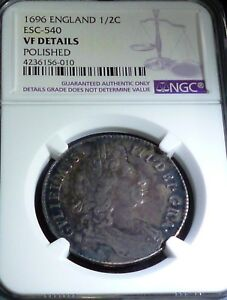 Click now to see the BUY IT NOW Price! GREAT BRITAIN 1/2 CROWN KM 491.7 1696  VARIETY ESC 540   NGC VF DETAILS