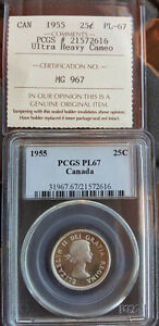Click now to see the BUY IT NOW Price! 1955 CANADA ICCS/PCGS GRADED 25 ULTRA HEAVY CAMEO PROOF LIKE 67
