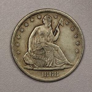 1868 S SEATED LIBERTY HALF DOLLAR  CHOICE XF  TOUGH DATE