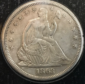 1863 P 50C LIBERTY SEATED HALF DOLLAR AU CLEANED CIVIL WAR DATE