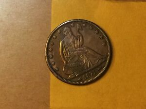 1874 SEATED LIBERTY HALF DOLLAR 50C AU  GREAT TONING ELECTRIC BLUE & GOLD