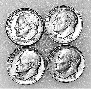 1983 ROOSEVELT DIMES CIRCULATED LOT1 LOOK  NICE