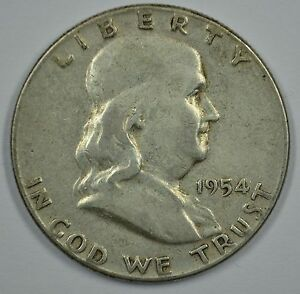 1954 P FRANKLIN SILVER CIRCULATED HALF DOLLAR  SEE STORE FOR DISCOUNTS  GR45