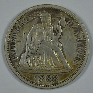 1888 SEATED LIBERTY SILVER DIME VF/XF   DETAILS  SEE STORE FOR DISCOUNTS  OR41