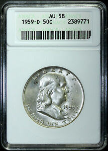 1959 D FRANKLIN SILVER HALF DOLLAR ANACS AU58 OLD SMALL WHITE HOLDER