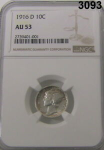 Click now to see the BUY IT NOW Price! 1916 D NGC CERTIFIED AU 53 MERCURY DIME KEY OF THE SERIES MINATGE 264 000 3093