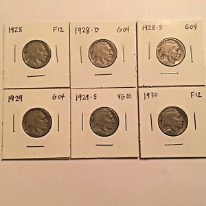 1928 1928 D 1928 S 1929 1929 S 1930 BUFFALO NICKEL LOT  6 COINS