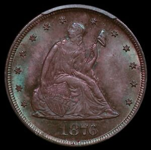 Click now to see the BUY IT NOW Price! 1876 LIBERTY SEATED TWENTY CENT PCGS MS64 CAC