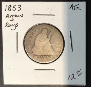 1853 25C ARROW AND RAYS LIBERTY SEATED QUARTER