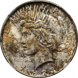 1923 U.S. PEACE DOLLAR NGC MS 64 CONDITION TWO SIDED MULTICOLORED TONING