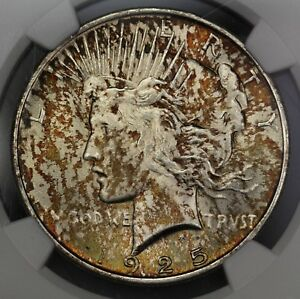 1925 U.S. PEACE DOLLAR NGC MS 64 CONDITION TWO SIDED MULTICOLORED TONING