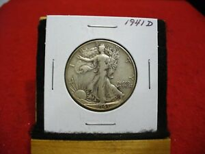 1941 D  WALKER  LIBERTY WALKING  HALF  DOLLAR      50  CENT PIECE   COIN  41D