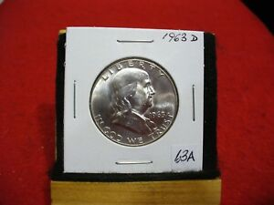 Click now to see the BUY IT NOW Price! 1963 D   BEN FRANKLIN   HALF  DOLLAR      50 CENT PIECE   COIN   63A  GOOD GRADE