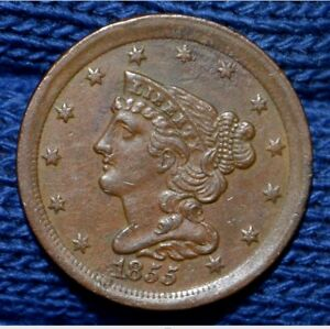 1855 HALF CENT   XF    NICE BROWN
