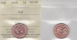 Click now to see the BUY IT NOW Price! 1968 ICCS MS65 1 CENT RED CANADA ONE PENNY