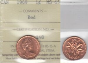 Click now to see the BUY IT NOW Price! 1969 ICCS MS65 1 CENT RED CANADA ONE PENNY