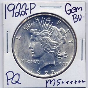 1922 P PEACE DOLLAR UNCIRCULATED US MINT GEM PQ SILVER COIN BU UNC MS