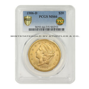 Click now to see the BUY IT NOW Price! TIED FOR FINEST KNOWN 1906 D $20 LIBERTY GOLD DOUBLE EAGLE PCGS MS66 PQ APPROVED