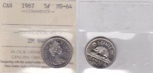 Click now to see the BUY IT NOW Price! 1987 ICCS MS64 5 CENTS CANADA FIVE NICKEL