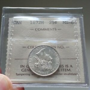 Click now to see the BUY IT NOW Price! 1872H CANADA 25 CENTS QUARTER DOLLAR COIN   ICCS MS 64   2 LETTER FLIP WOW