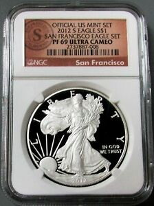 2012 S SAN FRANCISCO SILVER EAGLE NGC PROOF 69 ULTRA CAMEO