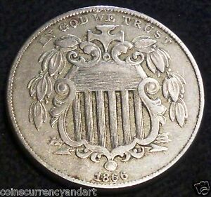 REPUNCHED DATE SHIELD NICKEL 1866