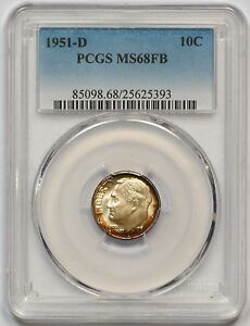 Click now to see the BUY IT NOW Price! 1951 D PCGS MS 68 FB ROOSEVELT DIME  FULLY STRUCK  PRISTINE  FINEST GRADE  POP 6