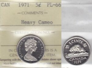 Click now to see the BUY IT NOW Price! 1971 ICCS PL66  BU NBU MS NC  5 CENTS HEAVY CAMEO CANADA FIVE NICKEL