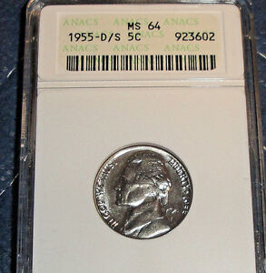 1955 D/S 5C NICKEL OMM 2 TOUGH  D OVER S VARIETY OMM 2 IN RED BOOK MS 64