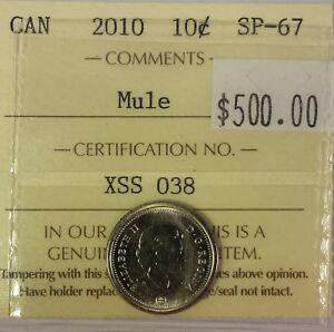 Click now to see the BUY IT NOW Price! CANADA TEN CENTS 2010 MULE IN ICCS SP67 CONDITION.  X234