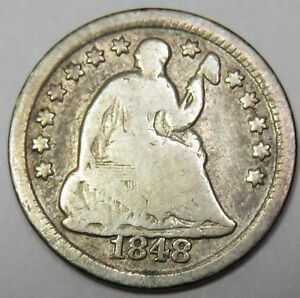 1848 O LIBERTY SEATED SILVER HALF DIME 5C US COIN ITEM 18259