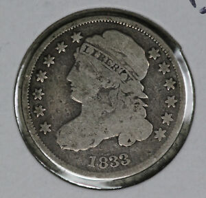 ORIGINAL PROBLEM FREE 1833 CAPPED BUST DIME   GOOD CONDITION COIN