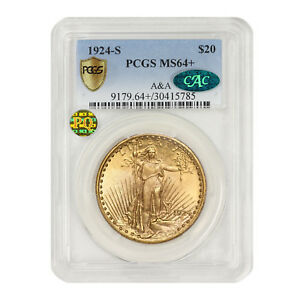 Click now to see the BUY IT NOW Price! 1924 S $20 GOLD SAINT GAUDENS PCGS MS64  A&A CAC PQ