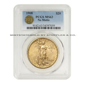 1908 $20 NM SAINT GAUDENS PCGS MS63 NO MOTTO PQ APPROVED GOLD DOUBLE EAGLE COIN