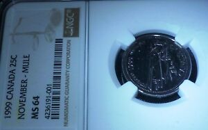Click now to see the BUY IT NOW Price! 1999 CANADA NOVEMBER   MULE 25 CENTS  NGC MS64