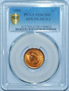 Click now to see the BUY IT NOW Price! 1900 PCGS MS67RD FS 302 S 3 RED RPD REPUNCHED DATE INDIAN CENT FINEST KNOWN