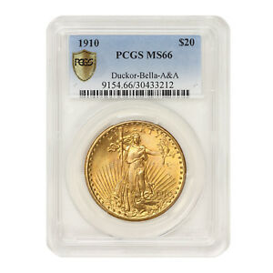 Click now to see the BUY IT NOW Price! 1910 $20 GOLD SAINT GAUDENS PCGS MS66 DUCKOR BELLA A&A