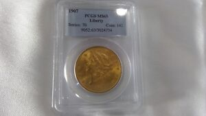 1907 $20 LIBERTY DOUBLE EAGLE GOLD COIN PCGS MS 63