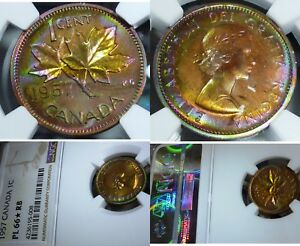 Click now to see the BUY IT NOW Price! TONED WILD COLOURS   CANADA 1957 PENNY    HIGHEST NGC GRADE PL66 STAR