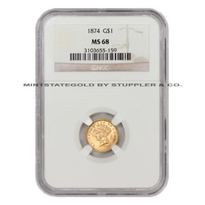 Click now to see the BUY IT NOW Price! 1874 $1 INDIAN HEAD TYPE 3 GOLD DOLLAR NGC MS68 GEM TIED FOR FINEST KNOWN