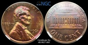 LINCOLN MEMORIAL SMALL CENT 1966 NGC PF65 RB PURPLE TONING