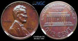 LINCOLN MEMORIAL SMALL CENT 1966 NGC PF66 RB GREAT NATURAL TONING