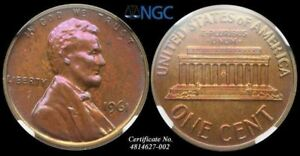LINCOLN MEMORIAL SMALL CENT 1966 NGC PF66 RB PURPLE TONING