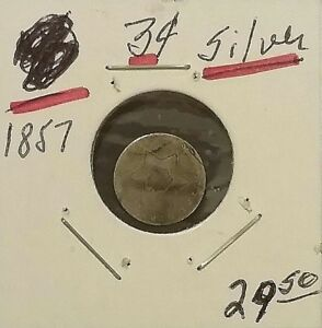 1857 TYPE 2 THREE CENT SILVER PIECE  US COIN WEAK DATE STRONG REVERSE
