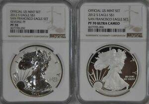 2012 S SF 75TH ANNIVERSARY SILVER EAGLE SET REVERSE PROOF NGC PF70 PF70