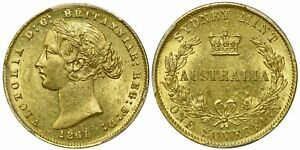 Click now to see the BUY IT NOW Price! AUSTRALIA 1861 SY  GOLD SOVEREIGN QUEEN VICTORIA PCGS MS62