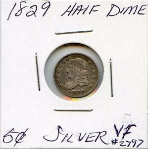 1829 H10C CAPPED BUST SILVER HALF DIME. CIRCULATED. LOT 2575