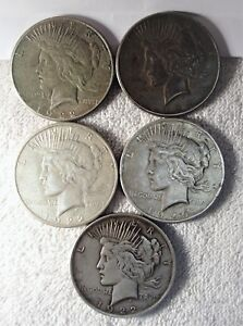 LOT OF FIVE  5  PEACE DOLLARS   22 22S 22S 23S 26S