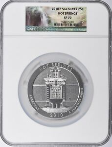 2010 P NGC SP70 HOT SPRINGS AMERICA THE BEAUTIFUL ATB 5 OZ SILVER COIN